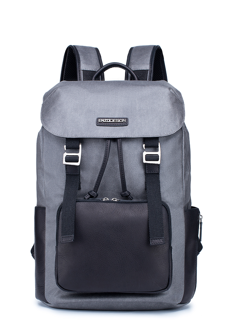 Flap Over Coated Water Repellent Canvas With Top Grain Cow Leather Trim Casual Backpack (B12352A-GRY)