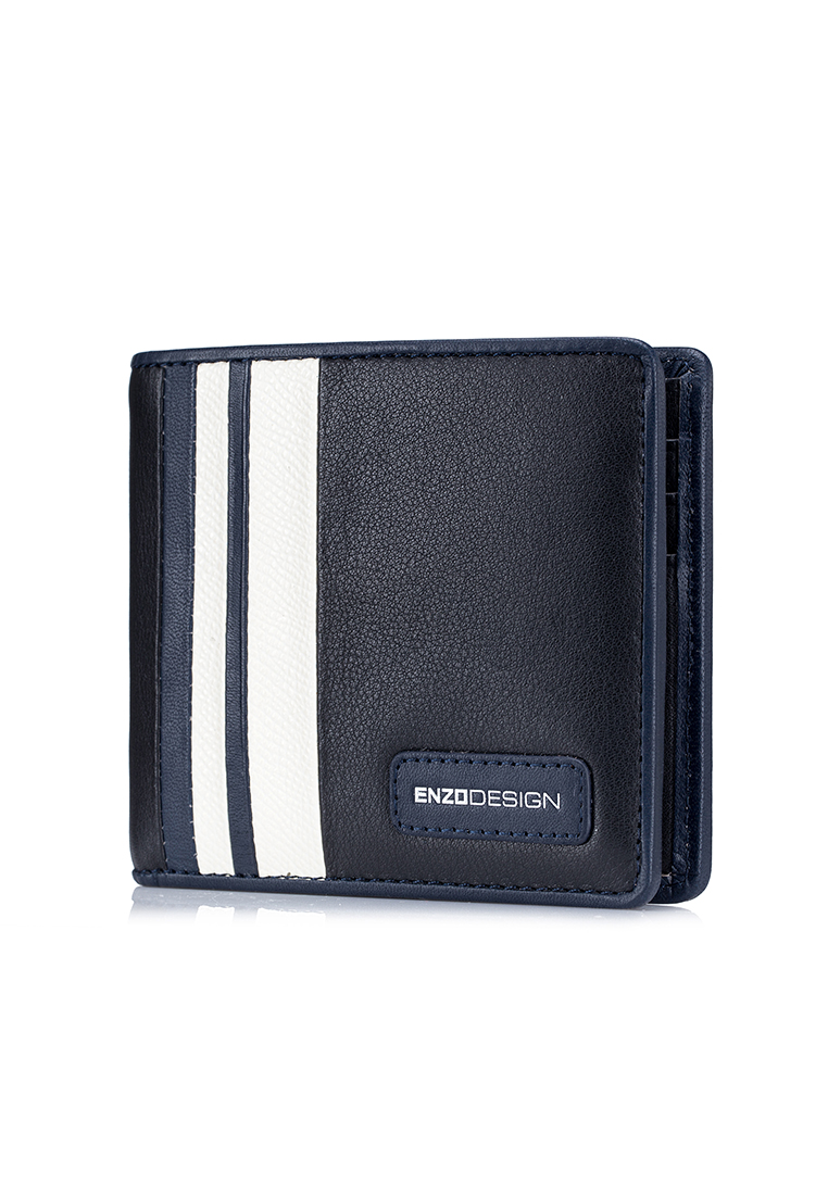 Modern Stripe 14 Card Slots Leather Bi-fold Wallet (LWM20BW-E)