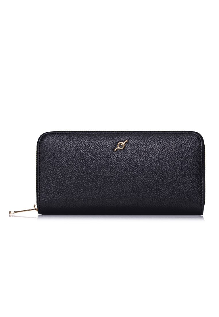 Small Pebble Grained  Cow Leather Standard Zip Around Long Wallet (LPW-FL-BLK3)