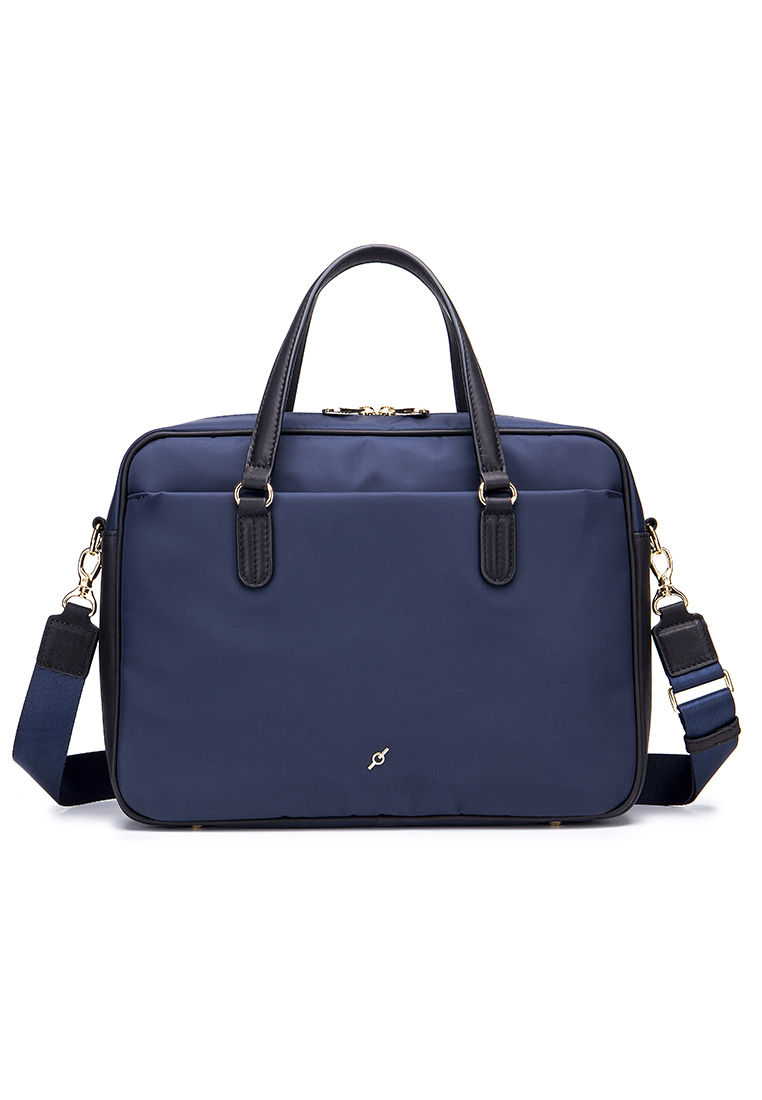 Simplistic Fine Nylon With Leather Trim Lady's Light Weight Daily Laptop Briefcase (B12453-NAY)