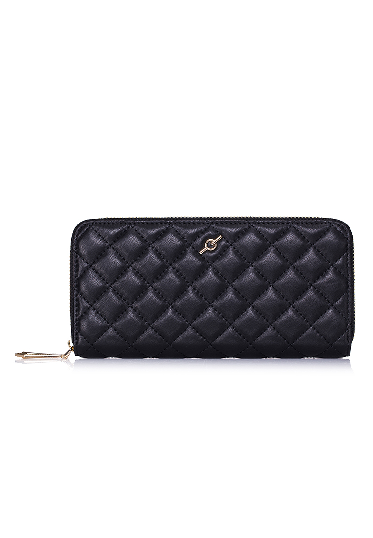 Soft Touch Lamb Square Quilted Leather Standard Zip Around Long Wallet (LPW-LMSQ-BLK3)