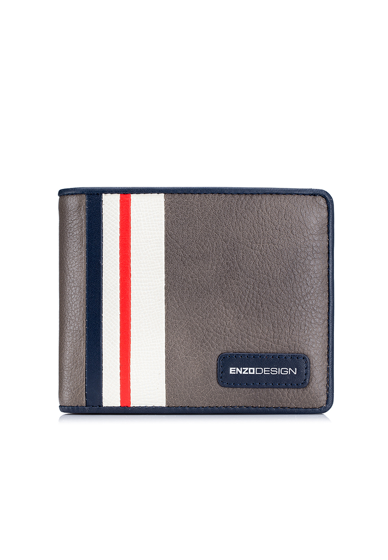 Modern Stripe Leather Wallet with Zip Coin Compartment (LWC20LW-X)