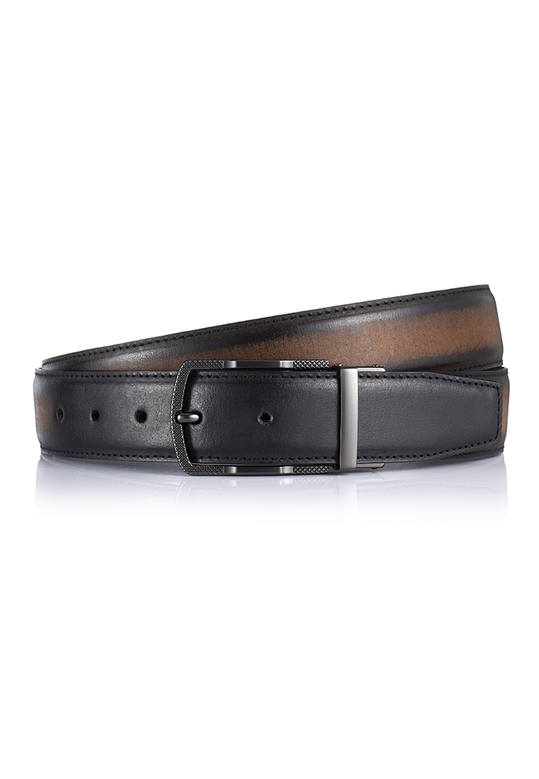 Brush Effect Buffalo Leather Rectangular Pin Buckle Belt (BT-1901-8103)