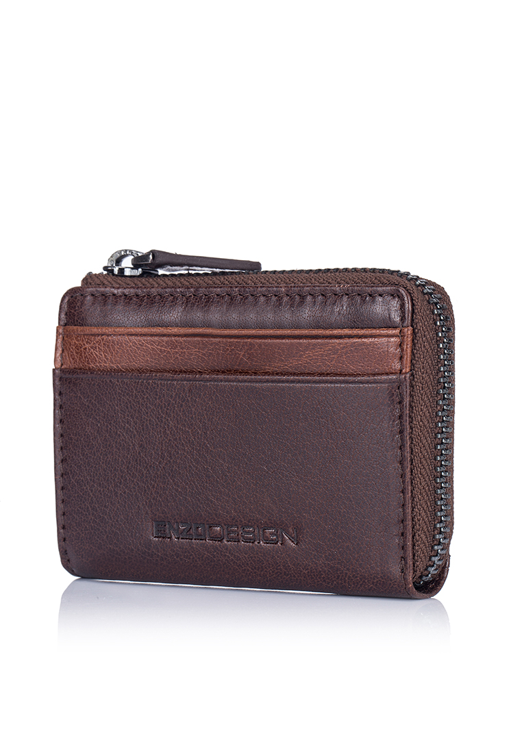 Buffalo Leather ID Mini Coin Case With Key Ring