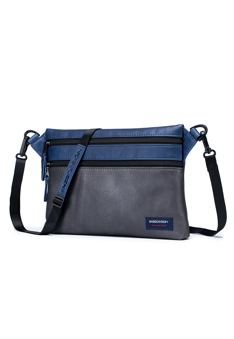 Leather Flat Crossbody Bag / Sling Bag GREY/ NAVY (B12948-GRY)