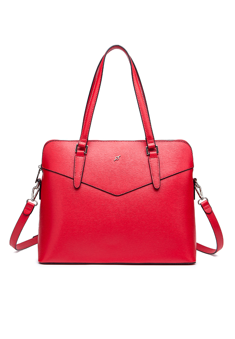 Saffiano Leather Top Zip Business Satchel