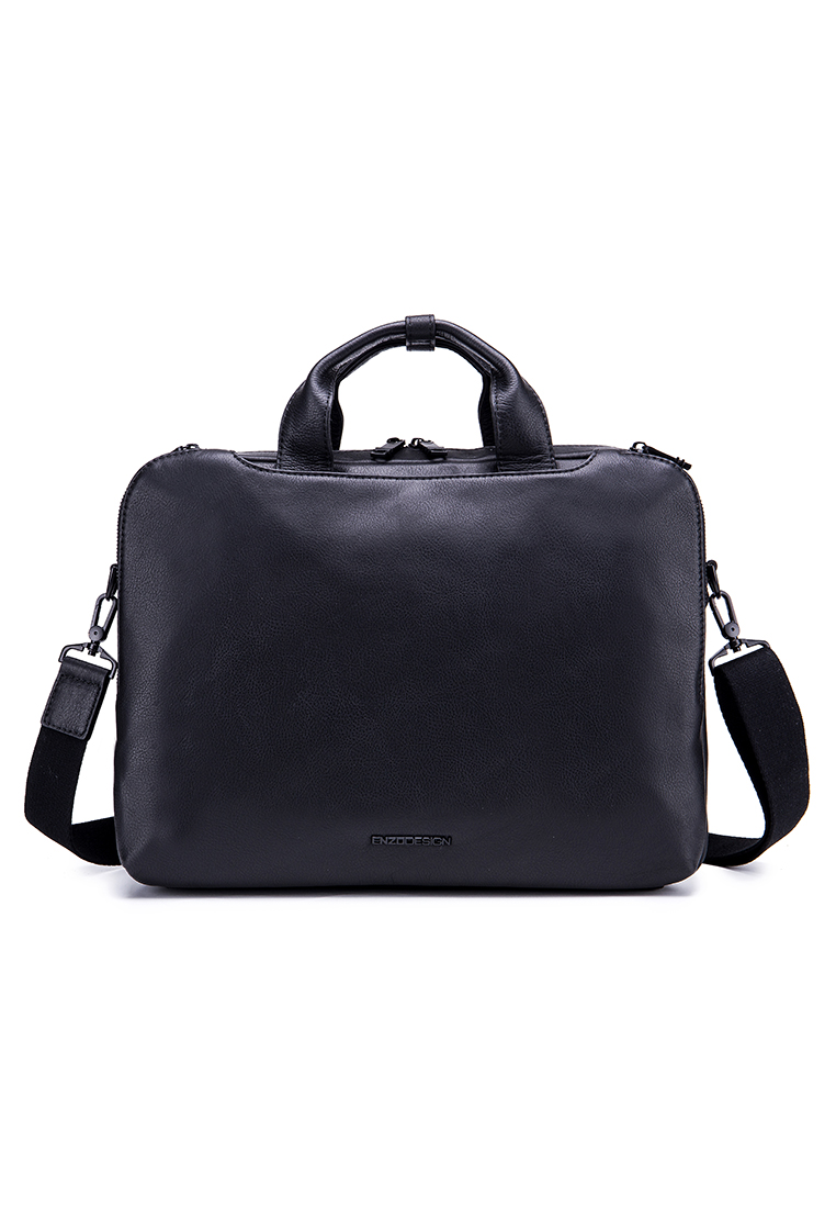 "Legend Full Gain Cow Nappa Leather 15"" Laptop Top Zip Briefcase (B12452-BLK)"