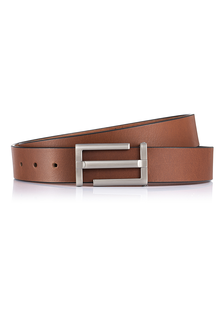 Distressed Buffalo Leather Gun Metal Buckled Casual Belt (BT-1904-8105)