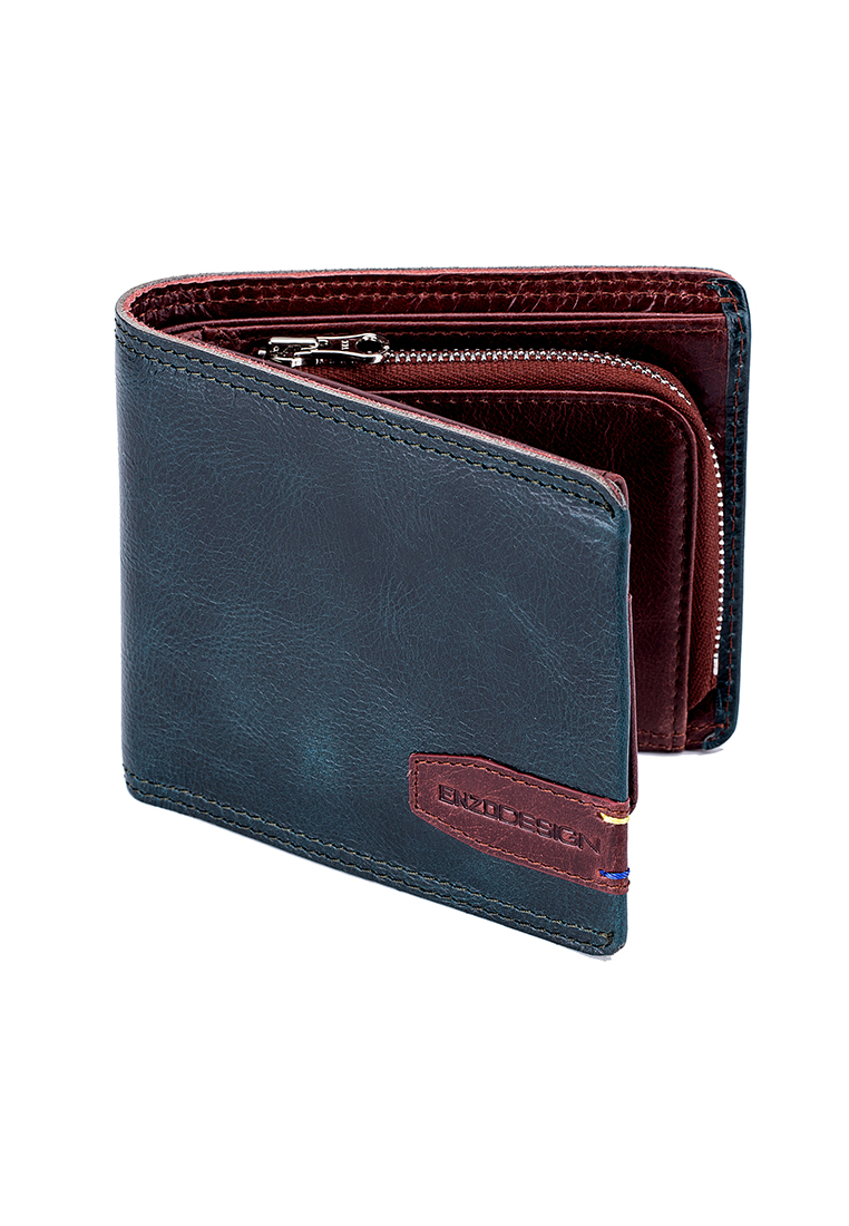 Top Grain Leather Sporty Wallet With Zip Coin Compartmen
